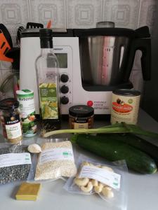 Ingrédients mijoté de quinoa et lentilles
